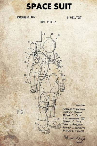 Wall Art - Drawing - Vintage Space Suit Patent by Dan Sproul