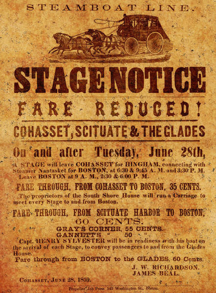 Photograph - Vintage Stagecoach Poster 1859 by Andrew Fare