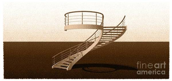 Wall Art - Drawing - Vintage Stair 48 Escalera Caracol Helicoidal by Drawspots Illustrations