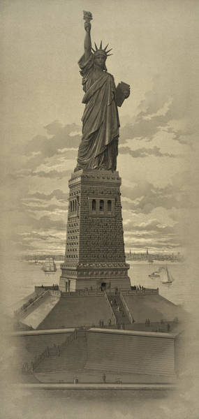 Historian Drawing - Vintage Statue Of Liberty by War Is Hell Store