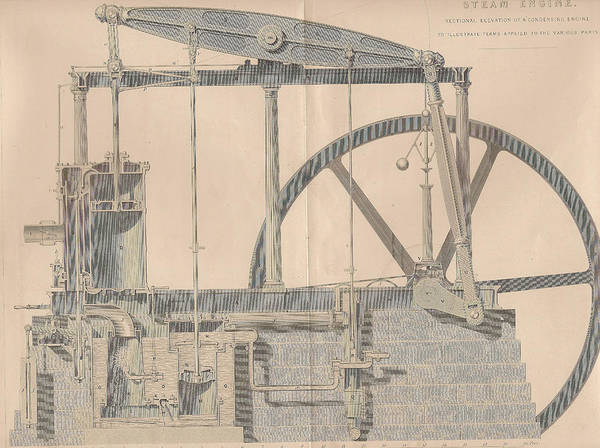 Pump Drawing - Vintage Steam Engine by Victorian Engraver