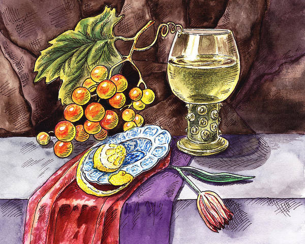 Wall Art - Painting - Vintage Still Life With Grape And Lemon by Irina Sztukowski