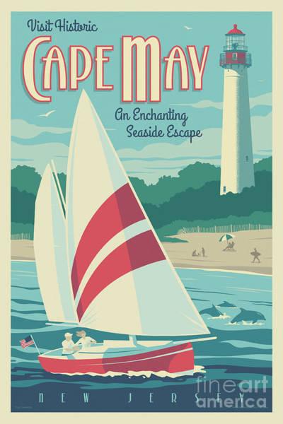 Lighthouses Digital Art - Cape May Poster - Vintage Travel Lighthouse  by Jim Zahniser