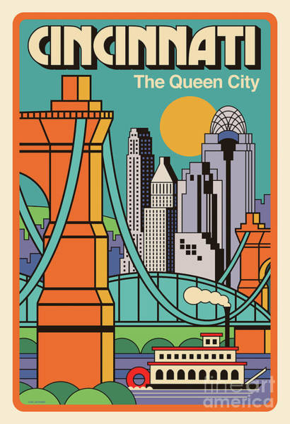 Red Bridge Wall Art - Digital Art - Cincinnati Poster - Vintage Pop Art Style by Jim Zahniser