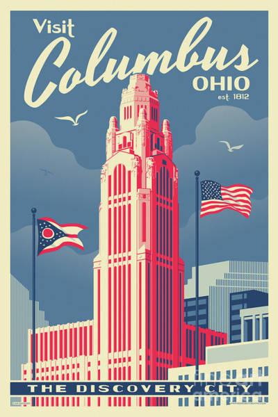 River Digital Art - Columbus Poster - Vintage Style Travel by Jim Zahniser