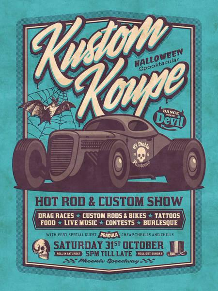 Wall Art - Digital Art - Vintage Style Fictional Halloween Hot Rod Show - Cyan by Ivan Krpan