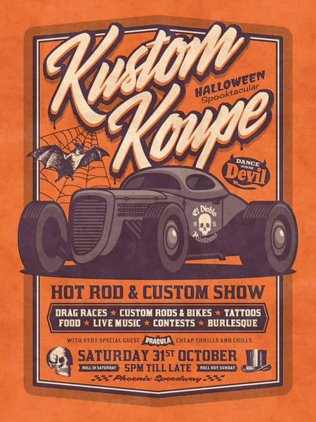 Wall Art - Digital Art - Vintage Style Fictional Halloween Hot Rod Show - Orange by Ivan Krpan