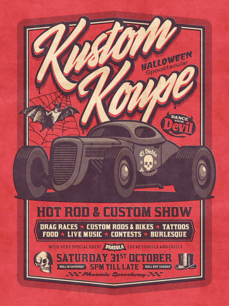 Vintage Poster Digital Art - Vintage Style Fictional Halloween Hot Rod Show - Red by Ivan Krpan