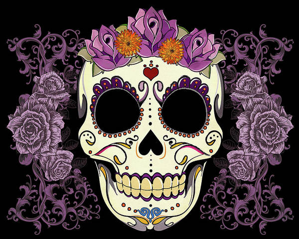 Floral Digital Art - Vintage Sugar Skull And Roses by Tammy Wetzel