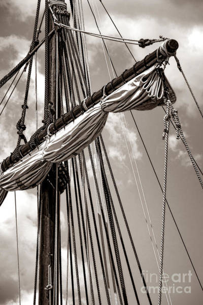 Rigging Photograph - Vintage Tall Ship Rigging by Olivier Le Queinec