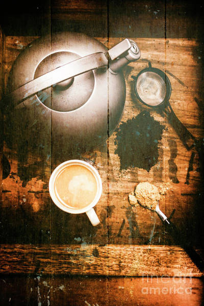 Dark Background Photograph - Vintage Tea Crate Cafe Art by Jorgo Photography - Wall Art Gallery