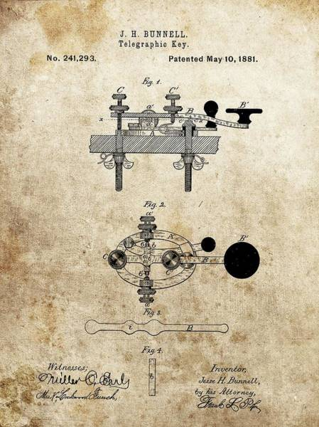 Drawing - Vintage Telegraph Key Patent by Dan Sproul