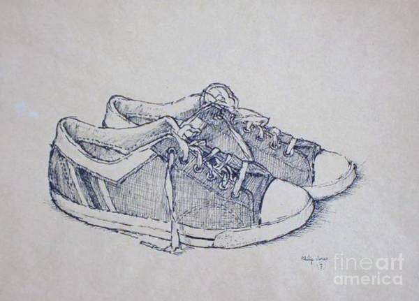 Pray For Love Wall Art - Drawing - Vintage Tennis Shoes by Philip Jones