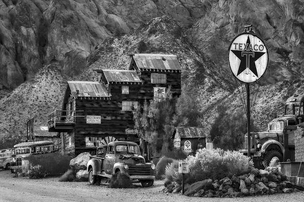 Photograph - Vintage Texaco Gas Station Bw by Susan Candelario