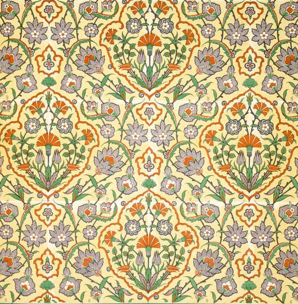 Decorative Drawing - Vintage Textile Pattern by Emile Prisse d'Avennes