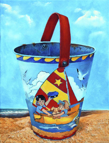 Wall Art - Painting - Vintage Tin Sand Bucket by Portraits By NC