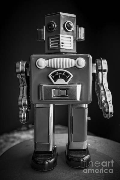 Photograph - Vintage Tin Toy Robot Black And White by Edward Fielding