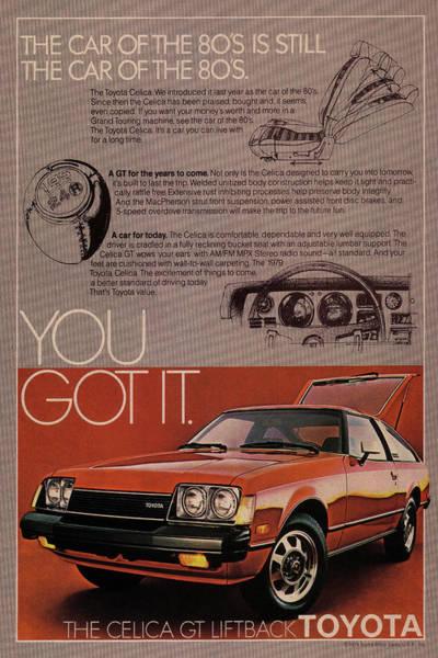 Vintage Poster Mixed Media - Vintage Toyota Celica Car Poster by Design Turnpike