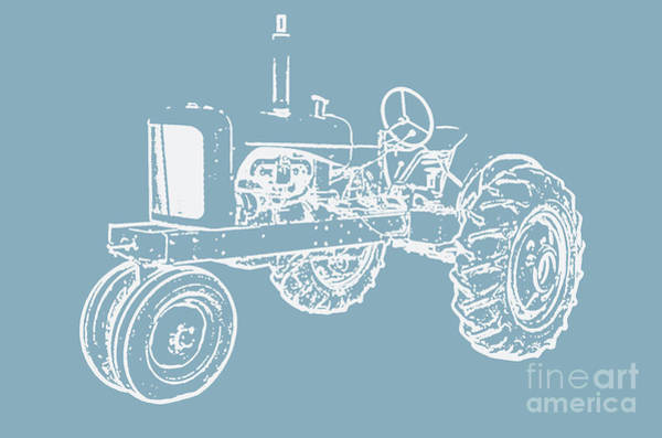 Old Farm Equipment Photograph - Vintage Tractor Blue And White by Edward Fielding