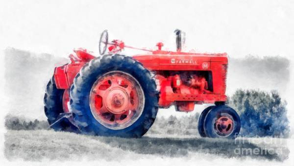 Plowing Painting - Vintage Tractor Watercolor by Edward Fielding