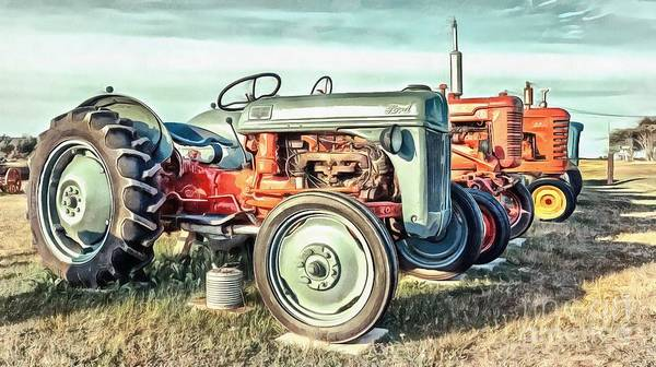 Vintage Tractor Painting - Vintage Tractors Ford  by Edward Fielding