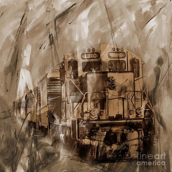 Alfa Romeo Painting - Vintage Train 09 by Gull G