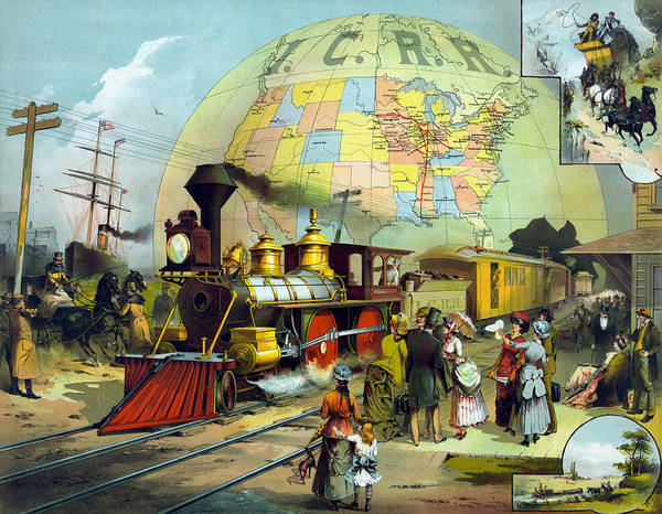 Wall Art - Painting - Vintage Transcontinental Railroad by War Is Hell Store