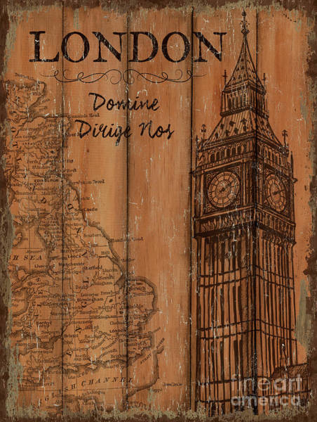 Clock Painting - Vintage Travel London by Debbie DeWitt