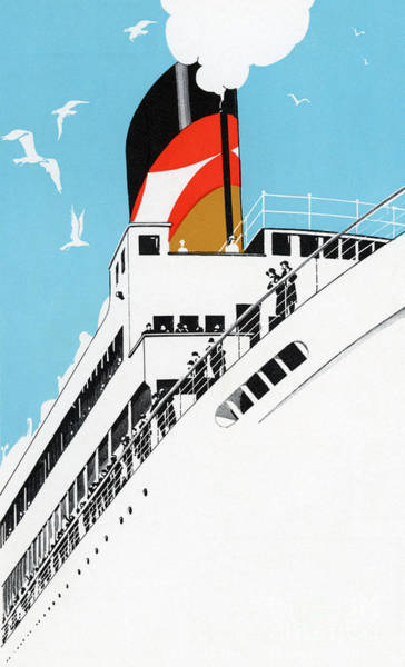 Groups Of People Painting - Vintage Travel Poster A Cruise Ship With Passengers, 1928 by American School