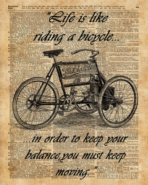 Quote Digital Art - Vintage Tricycle Antique Bicycle Motivational Quote Retro Dictionary Art by Anna W