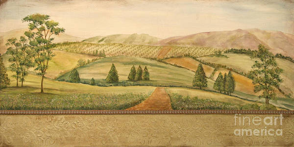 Emboss Wall Art - Painting - Vintage Tuscan Landscape by Jean Plout