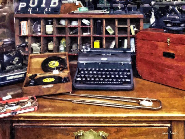 Photograph - Vintage Typewriter And Vinyls by Susan Savad