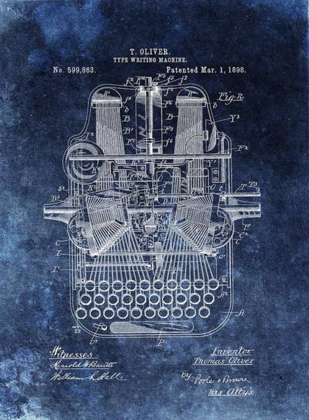 Wall Art - Drawing - Vintage Typewriter Patent by Dan Sproul
