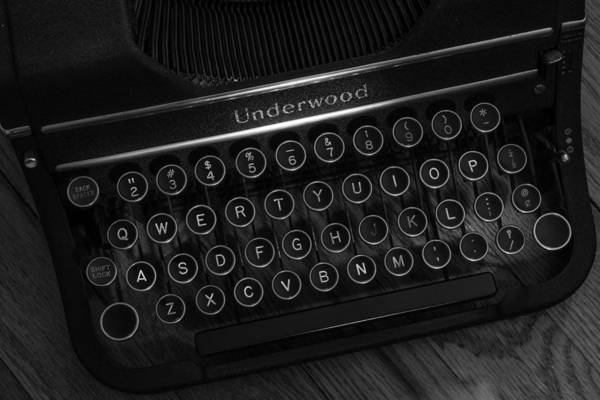 Photograph - Vintage Underwood Typewriter Black And White by Terry DeLuco