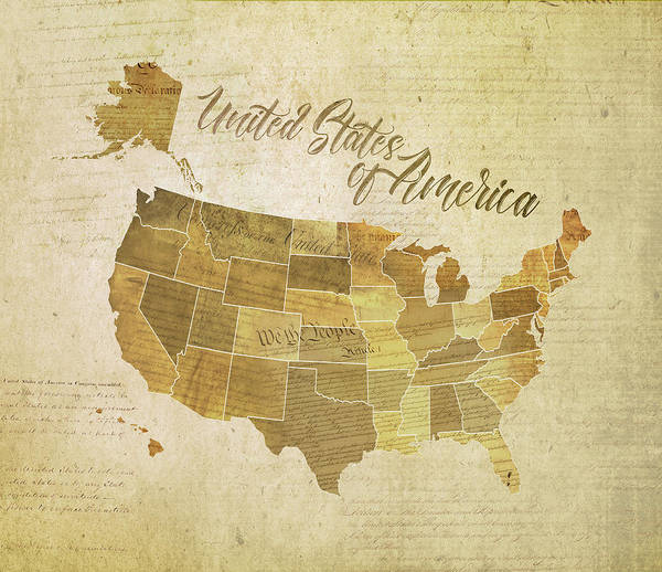 Faded Digital Art - Vintage United States Of America  by Laura Ostrowski