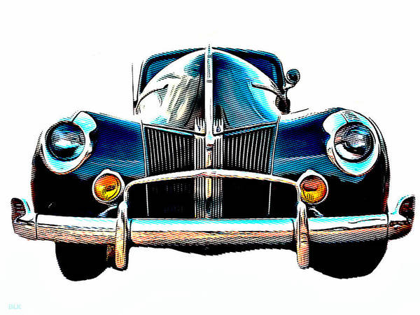American Car Drawing - Vintage V8 Ford by Little Bunny Sunshine