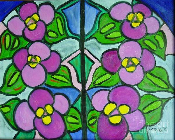 Leaded Glass Painting - Vintage Violets by Laurie Morgan