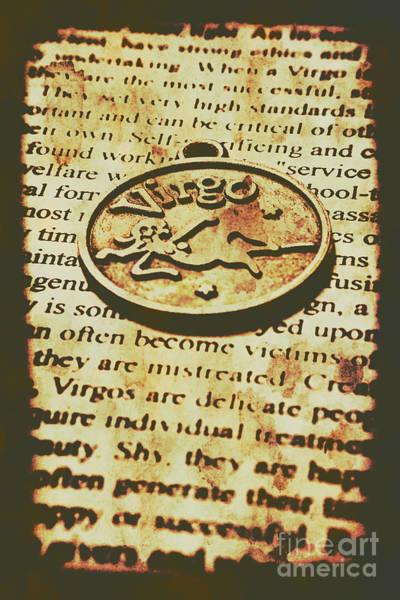 Wall Art - Photograph - Vintage Virgo Token Scroll by Jorgo Photography - Wall Art Gallery