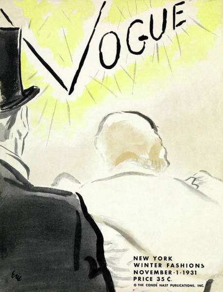 Wealth Photograph - Vintage Vogue Cover Of Couple In Eveningwear by Carl Oscar August Erickson