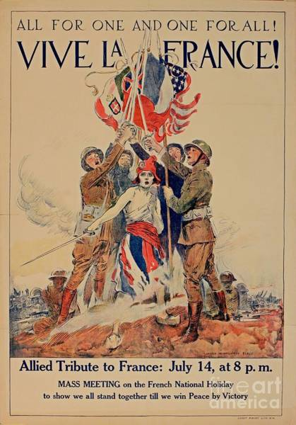 Vive La France Wall Art - Painting - Vintage War Poster by Pd