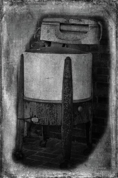 Photograph - Vintage Washing Machine Bw by Lesa Fine