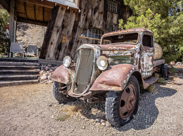 Photograph - Vintage Water Truck In The Desert by Edward Fielding