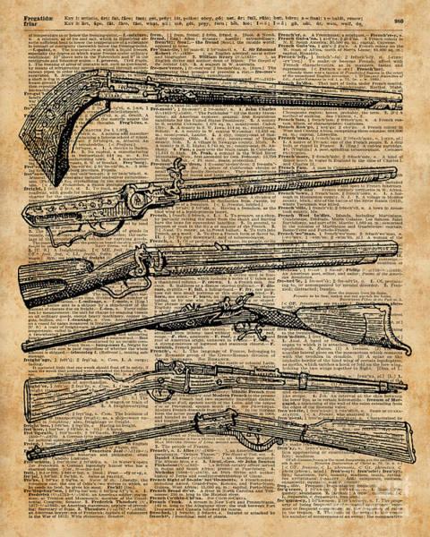Wall Art - Digital Art - Vintage Weapons Antique Guns Dictionary Art by Anna W