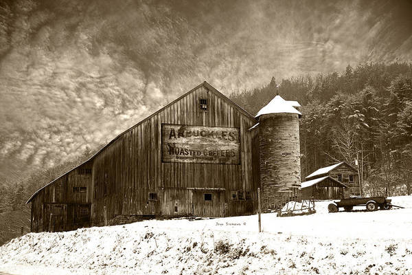 Wall Art - Photograph - Vintage Weathered Winter Storm Barn Arbuckles Coffee Sign by John Stephens