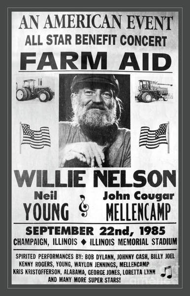 Wall Art - Photograph - Vintage Willie Nelson 1985 Farm Aid Poster Grayscale by John Stephens