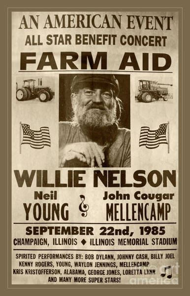 Neil Young Photograph - Vintage Willie Nelson 1985 Farm Aid Poster Toned by John Stephens