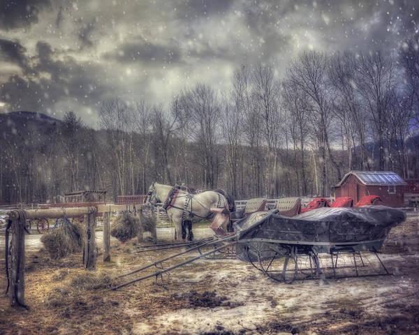 Photograph - Vintage Winter Sleigh Ride - Stowe Vt by Joann Vitali