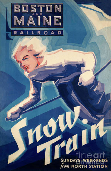 Wall Art - Painting - Vintage Winter Travel By Rail To Snow Ski Advert by Tina Lavoie