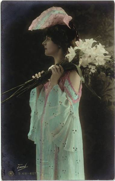 Wall Art - Photograph - Vintage Woman In Gown Holding Lilies by Gillham Studios