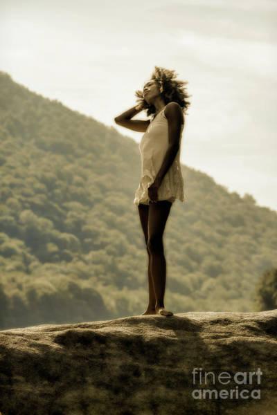 Photograph - Vintage Woman On The Rock by Dan Friend